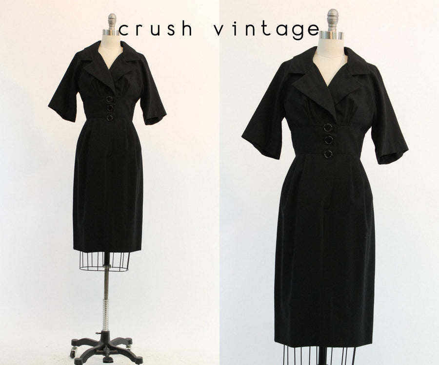 1950s Junior Accent wiggle dress xs | vintage wool dress