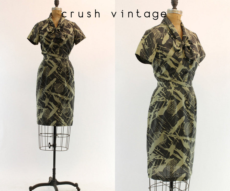 1950s camouflage print blouse and skirt xs | vintage cotton two piece set | new in