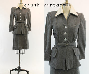 1940s gray wool suit xs | vintage peplum jacket and pencil skirt