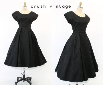 1950s eyelash faille dress xs | vintage full skirt | new in