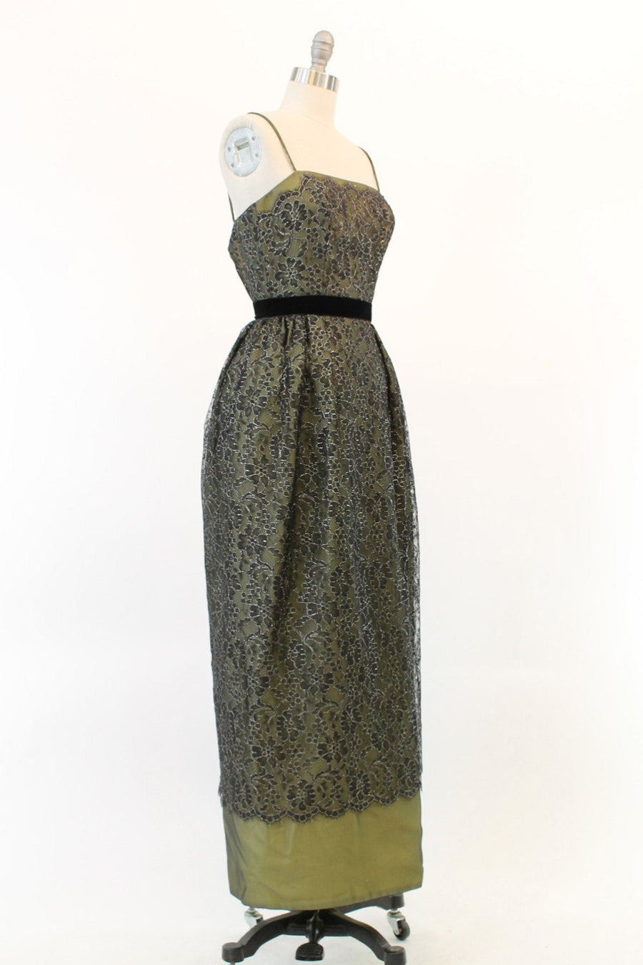 1950s lace chartreuse gown xs | vintage cocktail dress