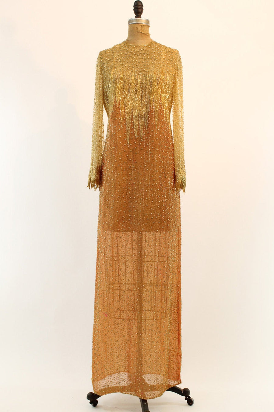 1980s Naeem Kahn dress | silk beaded | small - medium
