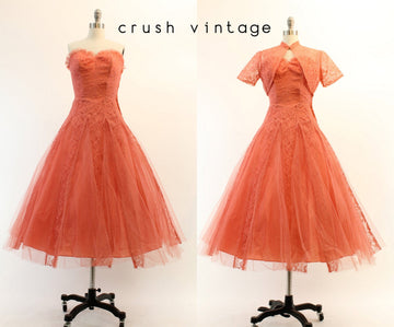 1950s cupcake lace dress xs | vintage tulle strapless dress and bolero | new in