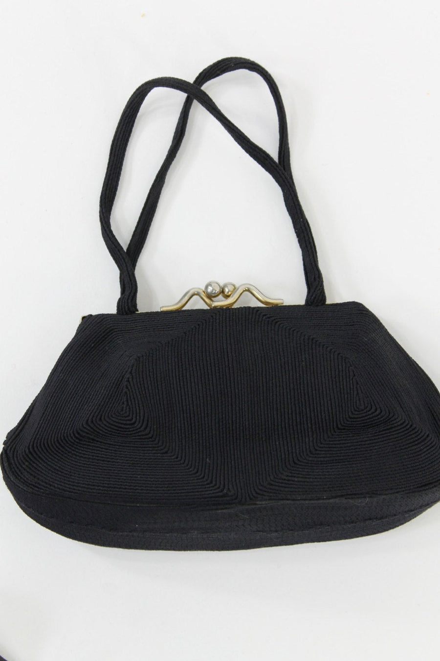 1940s frame purse | corded handbag | evening clutch
