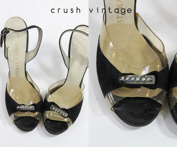 50s Shoes Rhinestone Lucite Size 5 / 1950s Black Velvet Slingbacks / Cocktail Party Peep Toes
