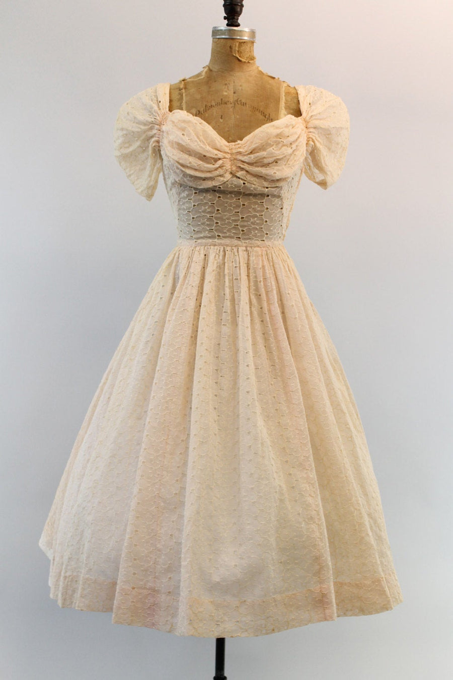 1940s eyelet lace dress xxs | vintage broderie anglaise | new in