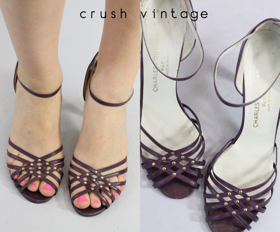 1980s Charles Jourdan shoes | leather studded sandals | size 8.5