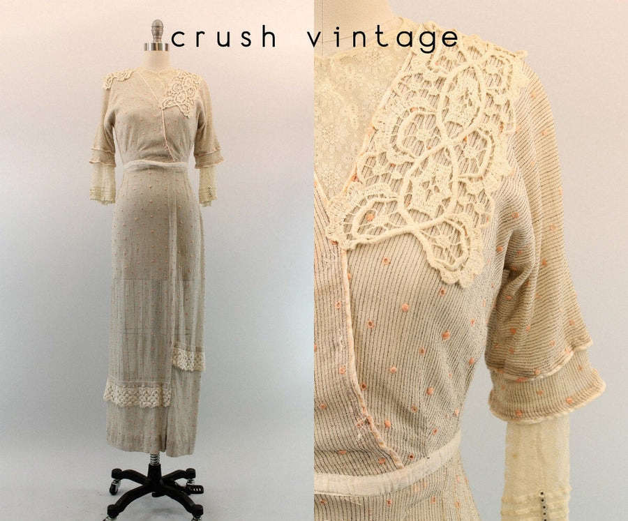 1910s Edwardian Lace Dress XXS / 1910 Antique Swiss Dot Gown / Tendu Dress