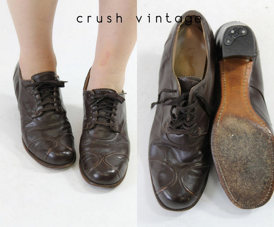 1930s oxford shoes | leather lace ups | size 6