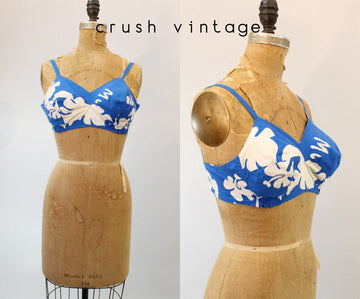 1960s hawaiian bikini top small | vintage swimsuit crop top