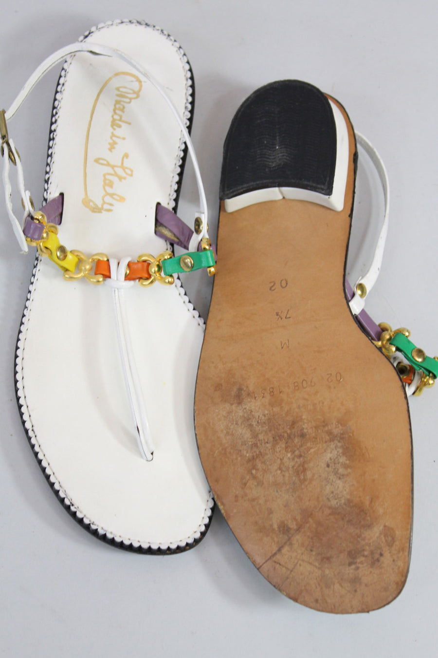 1970s Italian chain sandals size 7.5 us | vintage chain leather shoe