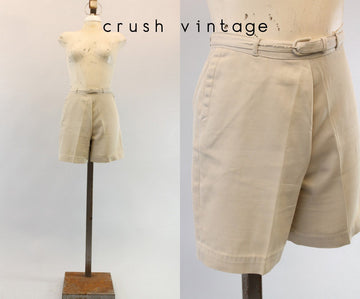 1950s cotton shorts xs | vintage high waisted pin up shorts