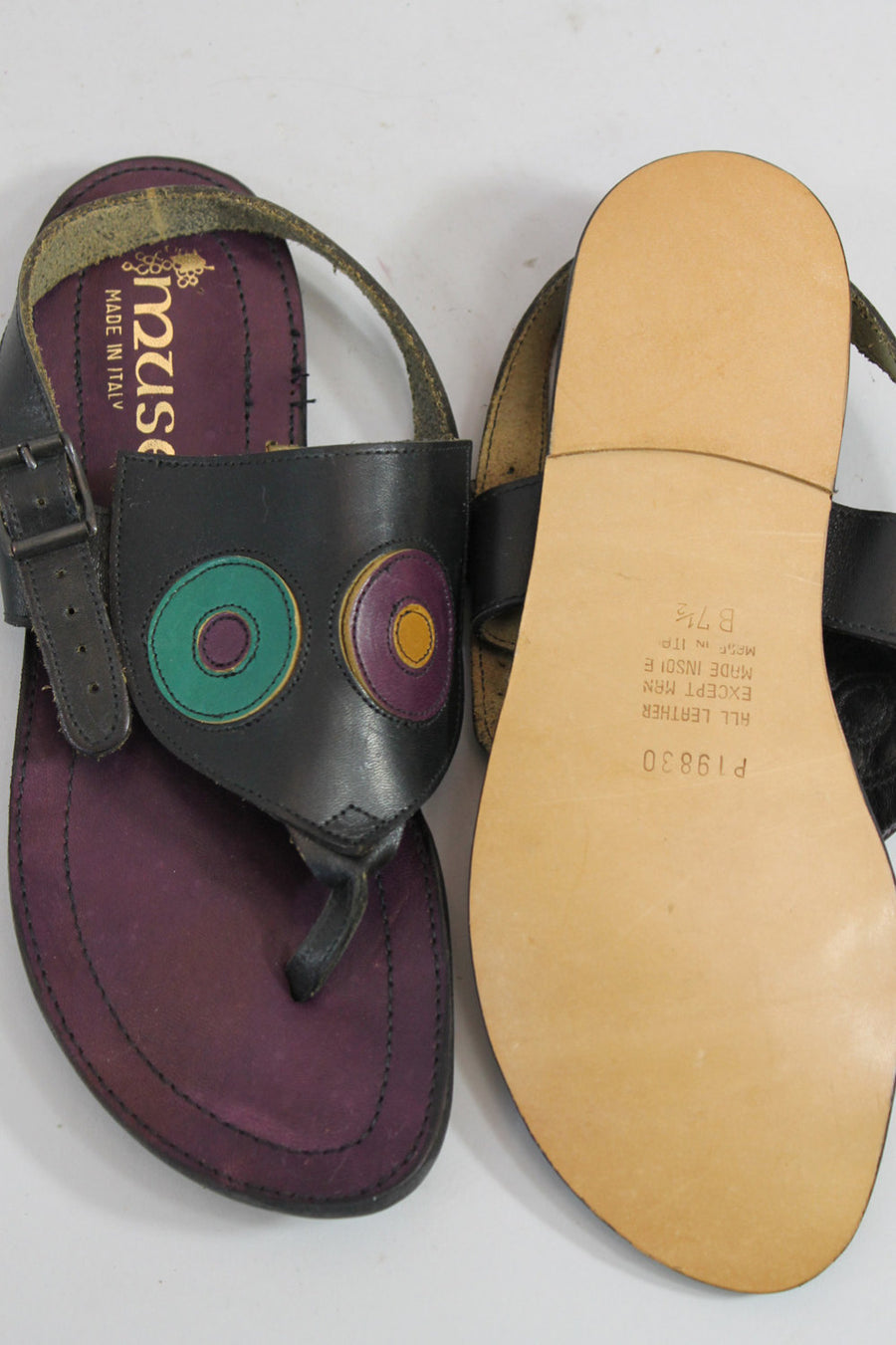 1970s deadstock sandals Italian size 7.5 us | vintage leather flats