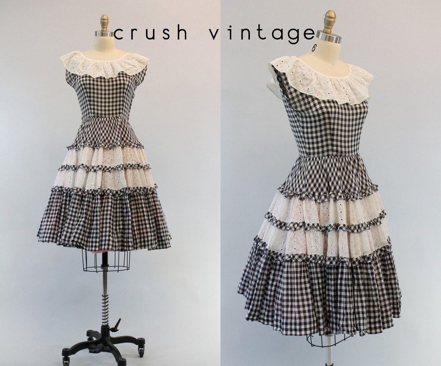 1940s gingham eyelet dress xs | vintage cotton full skirt dress | new in