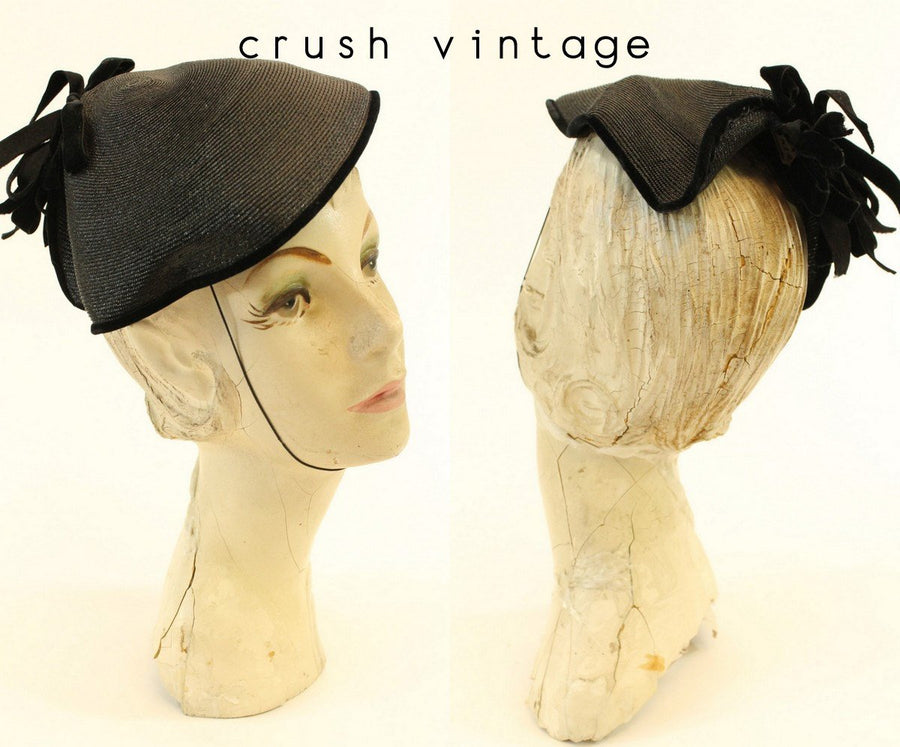 1940s raffia and velvet tilt hat | vintage fascinator