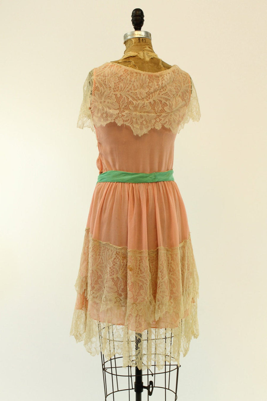 1920s pink silk dress xs small | vintage lace dress | new in