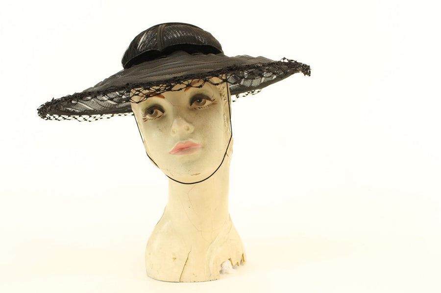 14950s open crown picture hat | vintage raffia portrait hat