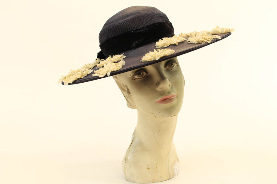 1940s straw picture hat | vintage wide brim sun hat with flowers