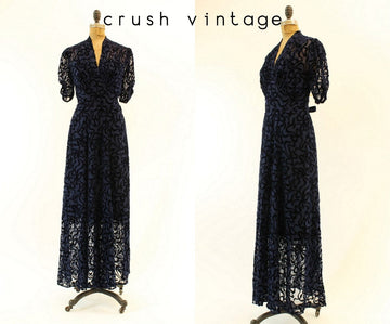 1930s burnout velvet dress | sheer maxi bows | small-medium