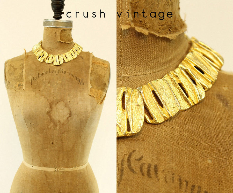 1980s Les Bernard necklace | modernist gold choker | sculptural statement