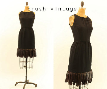1960s carwash hem dress xs | vintage fringe dress