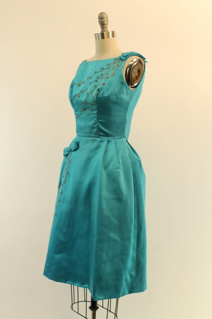 1950s beaded satin dress | xxs | embroidered party dress