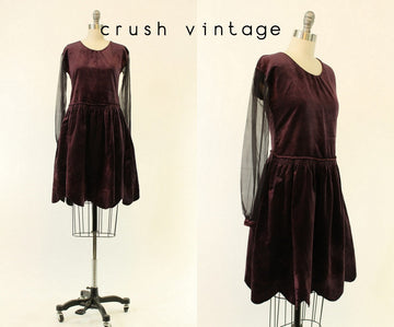 1920s velvet dress | scalloped hem aubergine flapper | xs