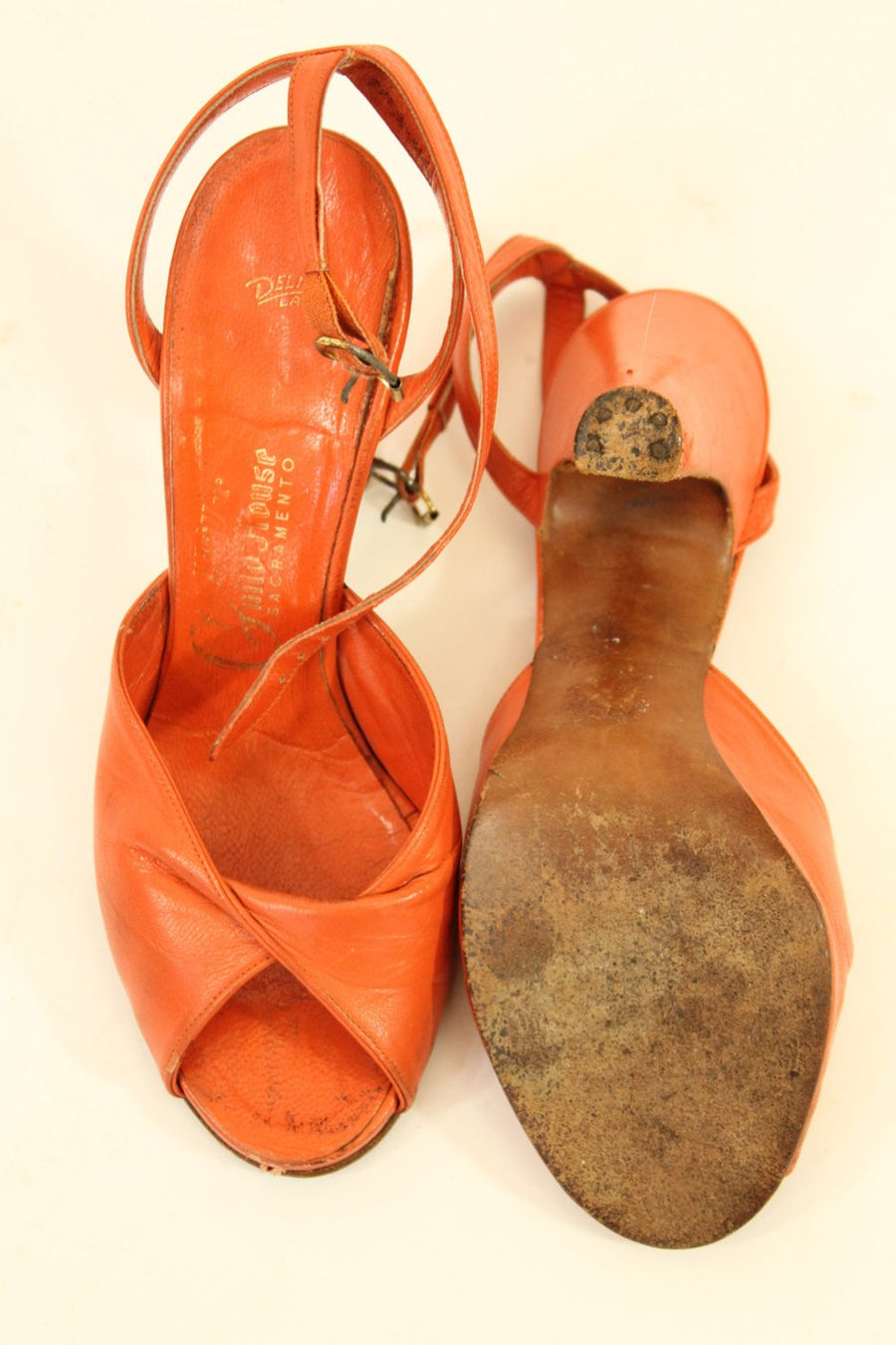1940s ankle straps | vintage peep toe leather shoes | size 4.5 us