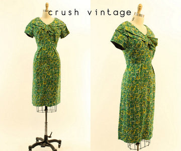 1940s animal print novelty dress large | vintge silk dress | new in