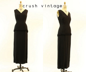 1960s column dress gown | small | vintage rayon gown