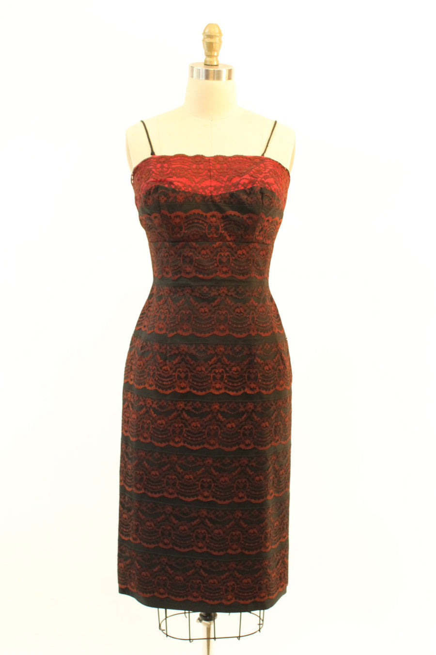 1950s black and red lace dress xs | vintage wiggle bow dress