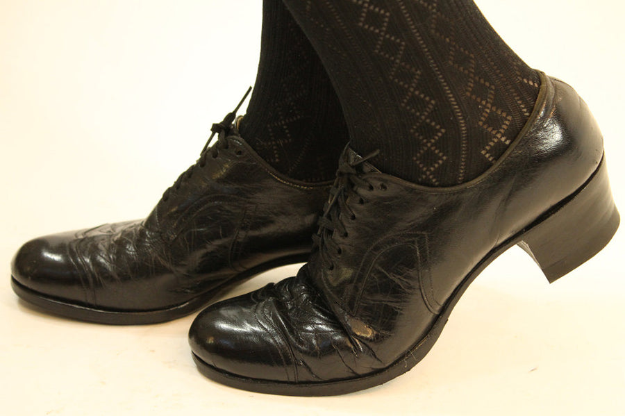 1930s oxfords shoes | size 6 us | vintage leather lace up loafers