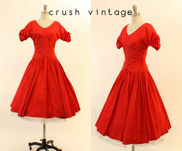 50s Dress Taffeta XS / 1950s Vintage Party Dress / La Spezia Dress