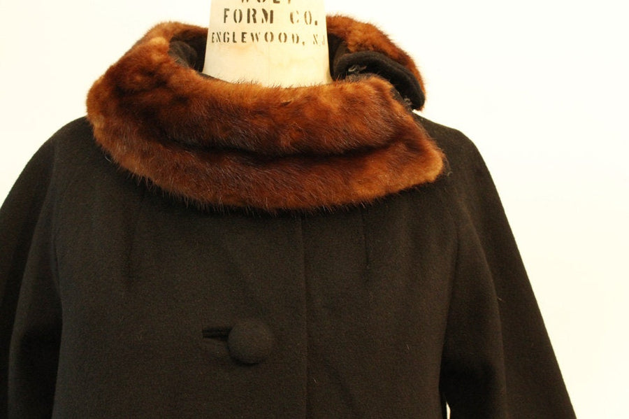 1960s LILLI ANN coat | vintage swing mink collar | large