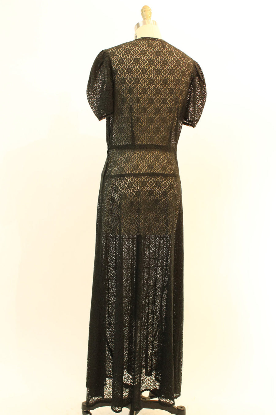 1930s black lace dress | sequin gown | large volup
