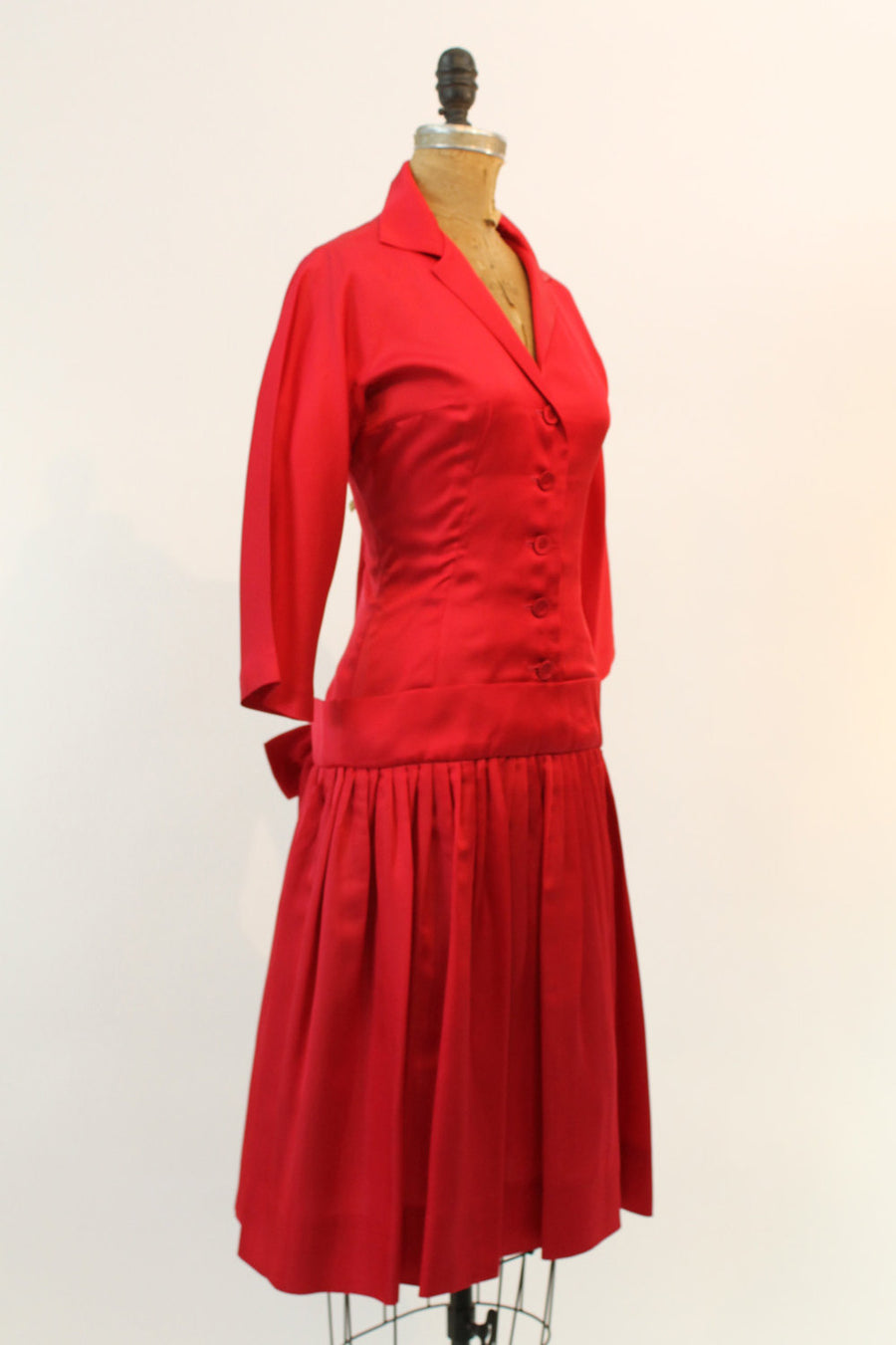1950s Phyllis De Trano dress | dropwaist satin | small