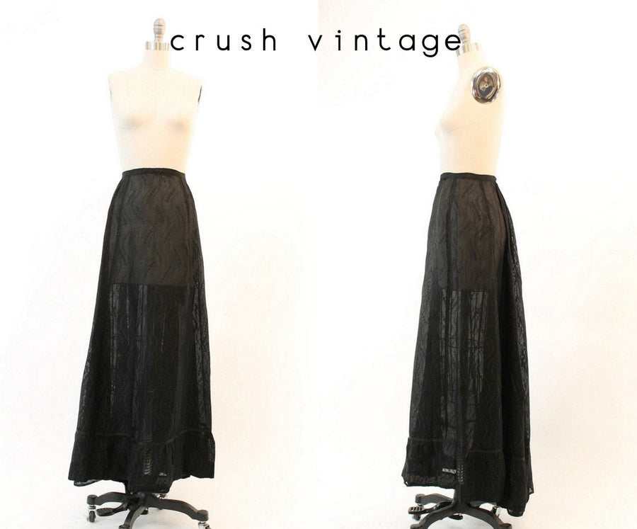 1900 EDWARDIAN skirt | sheer embroidered maxi | xs