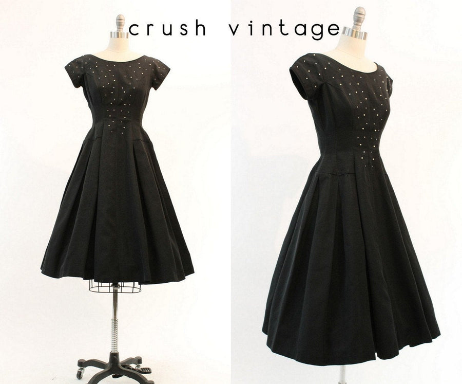 1950s rhinestone dress xs | vintage cocktail dress full skirt