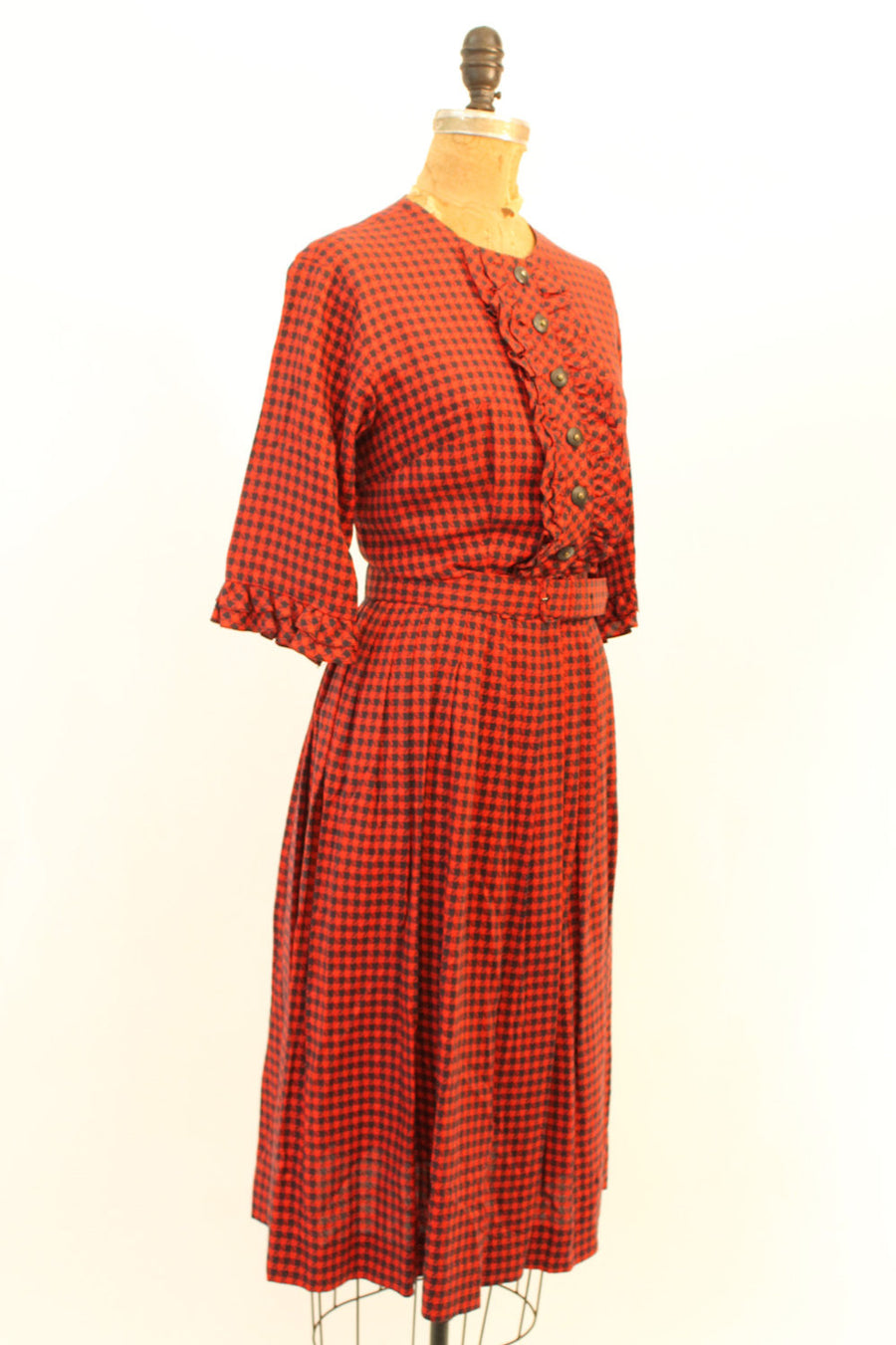 1950s plaid cotton dress | vintage Toni Todd ruffle bib dress