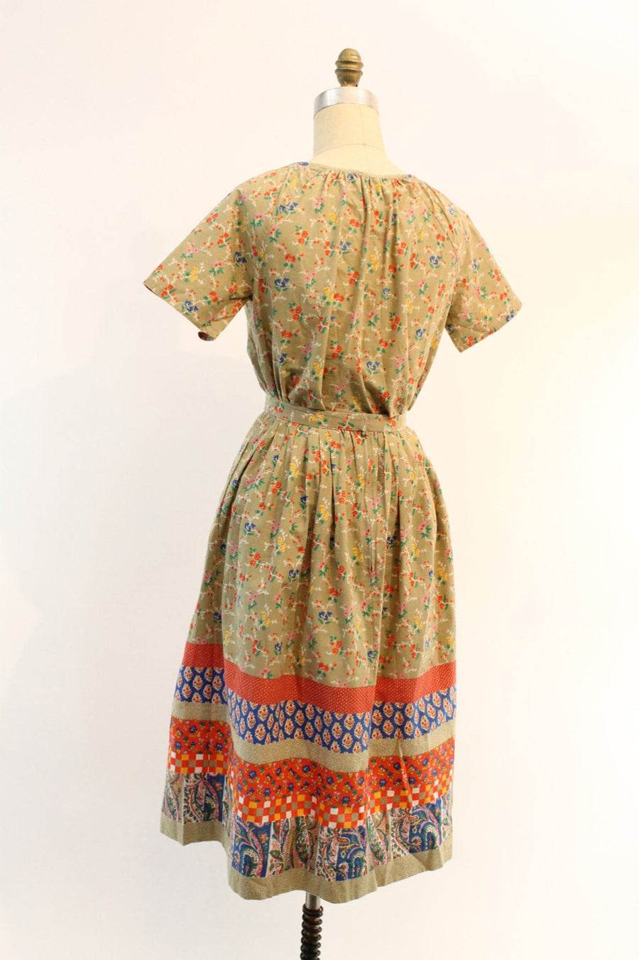 1970s cotton peasant blouse and full skirt xs | vintage set | new in