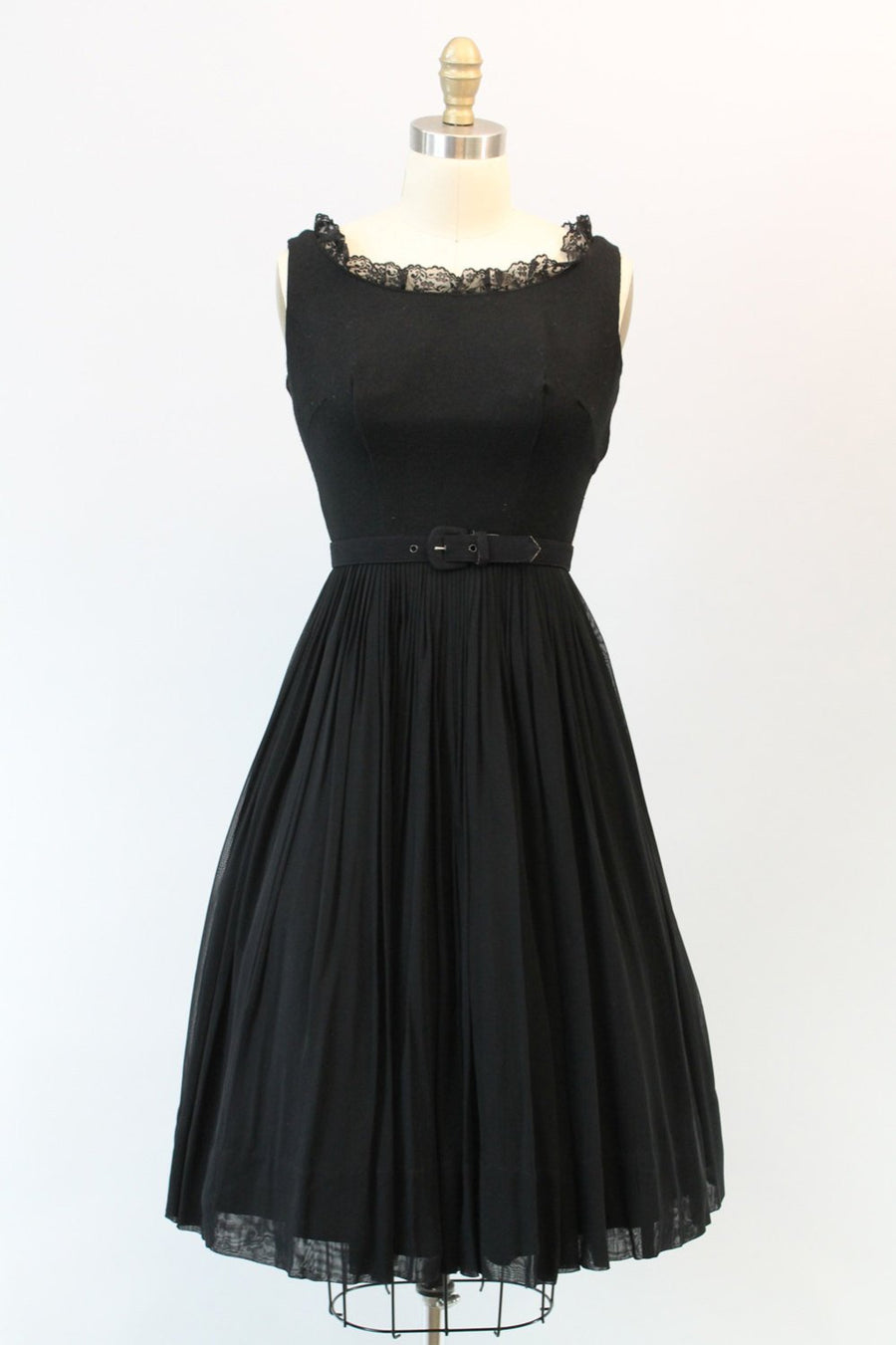 1950s chiffon dress | vintage jersey organza full skirt | xs