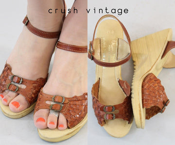 1970s deadstock sandals size 6 us | vintage braided platform wedges shoes