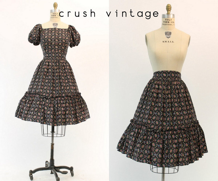 1950s novelty print hearts butterflies two piece set medium | vintage cotton outfit