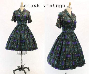 1950s geometric silk dress xs | vintage shirtwaist dress | new in