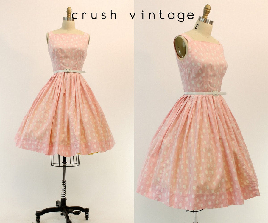1950s tulip print dress small | vintage floral cotton dress