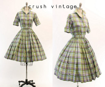 1950s plaid cotton blouse and skirt xxs | vintage dress | new in