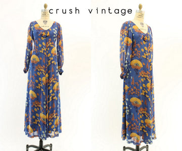 1970s iceland poppy silk maxi dress xs | vintage balloon sleeves | new in