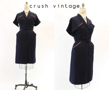 1940s rayon dress large | vintage nautical dress | new in