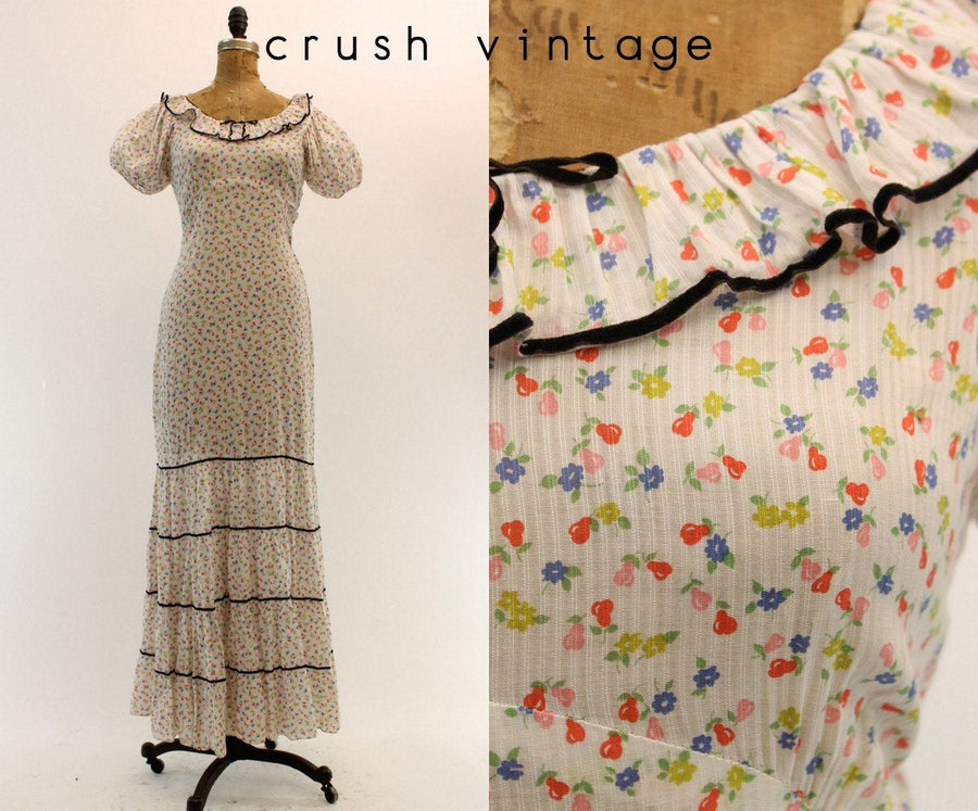 1930s novelty pear print dress xs | vintage cotton gown | new in
