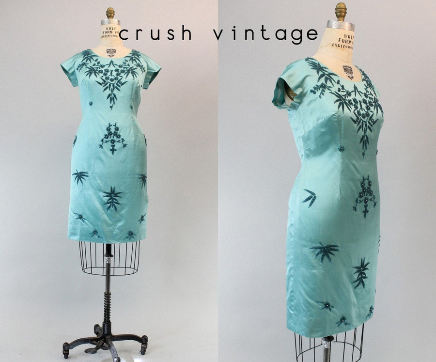 1960s beaded dress medium large | vintage silk shift dress | new in